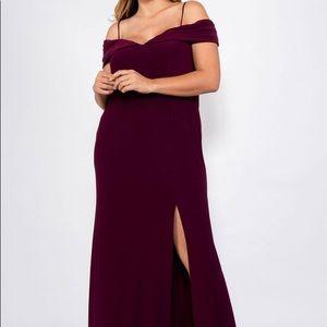 NWOT Morgan & Co pink off the shoulder maxi dress